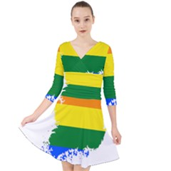 Lgbt Flag Map Of South Korea Quarter Sleeve Front Wrap Dress by abbeyz71