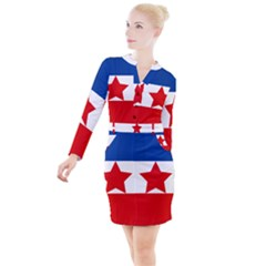 Flag Of Yugoslavia, 1941 1946 Button Long Sleeve Dress by abbeyz71