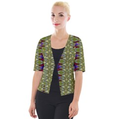 Divine Flowers Striving To Reach Universe Cropped Button Cardigan by pepitasart