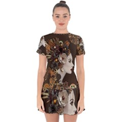 Mechanical Beauty  Drop Hem Mini Chiffon Dress by CKArtCreations