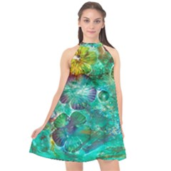 Underwater Summer Halter Neckline Chiffon Dress  by arwwearableart
