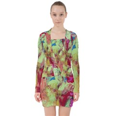 Neon World  V Neck Bodycon Long Sleeve Dress by arwwearableart
