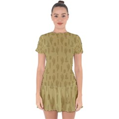 Cactus Pattern Drop Hem Mini Chiffon Dress by Valentinaart