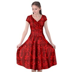 Arceli Red Floral Over Red Cap Sleeve Wrap Front Dress