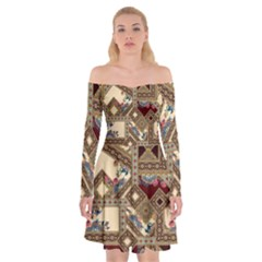 Luxury Abstract Design Off Shoulder Skater Dress by tarastyle