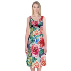 Watercolour Floral  Midi Sleeveless Dress