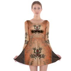 Beautiful Elegant Decorative Frog On Vintage Background Long Sleeve Skater Dress