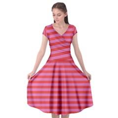 Love Sick - Bubblegum Pink Stripes Cap Sleeve Wrap Front Dress by WensdaiAmbrose