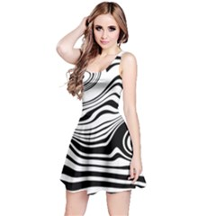 Lines Abstract Distorted Texture Reversible Sleeveless Dress