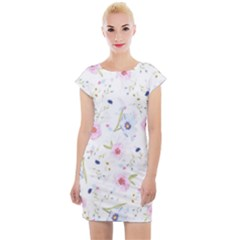 Floral Pattern Background Cap Sleeve Bodycon Dress