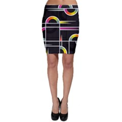Background Abstract Semi Circles Bodycon Skirt