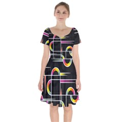 Background Abstract Semi Circles Short Sleeve Bardot Dress