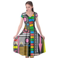 Abstract Background Colors Shapes Cap Sleeve Wrap Front Dress