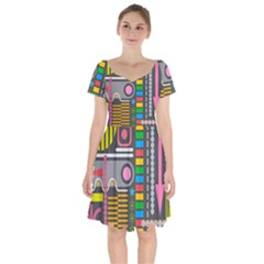 Abstract Background Colors Shapes Short Sleeve Bardot Dress by Pakrebo
