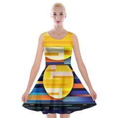 Background Abstract Horizon Velvet Skater Dress by Pakrebo