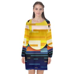 Background Abstract Horizon Long Sleeve Chiffon Shift Dress