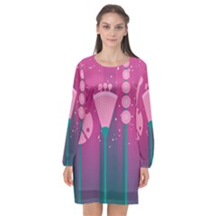 Floral Flowers Abstract Pink Long Sleeve Chiffon Shift Dress