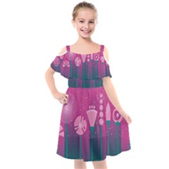 Floral Flowers Abstract Pink Kids  Cut Out Shoulders Chiffon Dress by Pakrebo