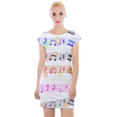 Music Background Music Note Cap Sleeve Bodycon Dress