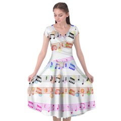 Music Background Music Note Cap Sleeve Wrap Front Dress