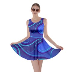 Wavy Abstract Blue Skater Dress