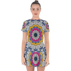 Kaleidoscope Bright Flower Mandala Drop Hem Mini Chiffon Dress