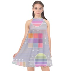 Pastels Shapes Geometric Halter Neckline Chiffon Dress