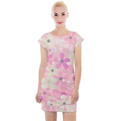 Background Floral Non Seamless Cap Sleeve Bodycon Dress