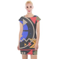 Background Abstract Colors Shapes Cap Sleeve Bodycon Dress
