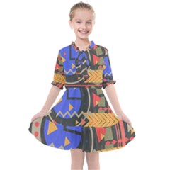 Background Abstract Colors Shapes Kids  All Frills Chiffon Dress by Pakrebo