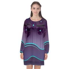 Scenery Sea Full Moon Stylized Long Sleeve Chiffon Shift Dress  by Pakrebo