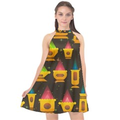 Pattern Non Seamless Objects Pots Halter Neckline Chiffon Dress