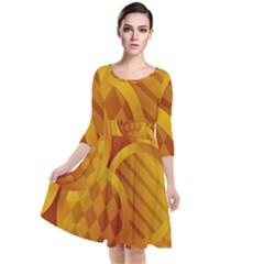 Background Abstract Shapes Circle Quarter Sleeve Waist Band Dress by Pakrebo