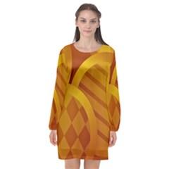 Background Abstract Shapes Circle Long Sleeve Chiffon Shift Dress