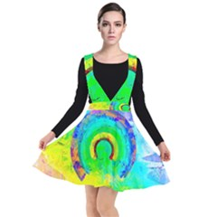 Abstract Color Design Background Plunge Pinafore Dress