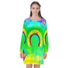 Abstract Color Design Background Long Sleeve Chiffon Shift Dress