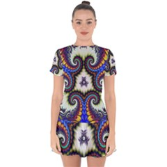 Abstract Texture Fractal Figure Drop Hem Mini Chiffon Dress by Pakrebo
