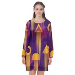 Background Pattern Non Seamless Long Sleeve Chiffon Shift Dress