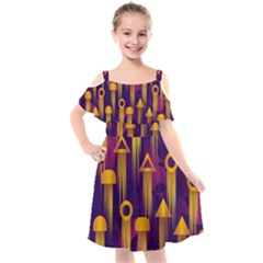 Background Pattern Non Seamless Kids  Cut Out Shoulders Chiffon Dress by Pakrebo