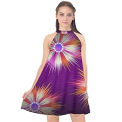 Floral Non Seamless Pattern Purple Halter Neckline Chiffon Dress  by Pakrebo