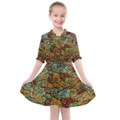 Texture Stone Structure Pattern Kids  All Frills Chiffon Dress by Pakrebo