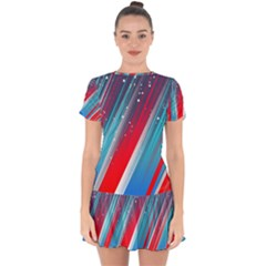 Abstract Red White Blue Feathery Drop Hem Mini Chiffon Dress