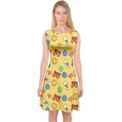 Crabs Pattern Capsleeve Midi Dress by Valentinaart