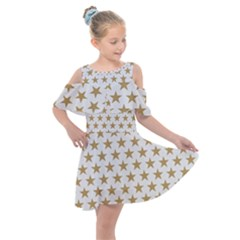 Gold Star Kids  Shoulder Cutout Chiffon Dress by WensdaiAddamns