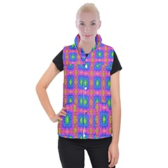 Groovy Pink Blue Yellow Square Pattern Women s Button Up Vest