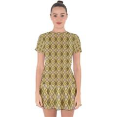 Argyle Large Yellow Pattern Drop Hem Mini Chiffon Dress by BrightVibesDesign