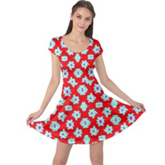 Modern Turquoise Flowers  On Red Cap Sleeve Dress by BrightVibesDesign