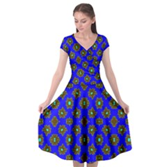 Modern Brown Flowers On Blue Cap Sleeve Wrap Front Dress