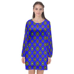 Modern Brown Flowers On Blue Long Sleeve Chiffon Shift Dress