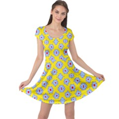 Modern Blue Flowers  On Yellow Cap Sleeve Dress by BrightVibesDesign